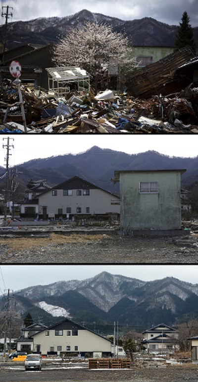 This combination of pictures shows a cherry blossom tree (top image-C) amongst tsunami devastation in the city of Kamaishi, Iwate prefecture on April 20, 2011 (top) and the same area on January 16, 2012 (C) and then nearly two years later on February 18, 2013 (bottom).  March 11, 2013 will mark the second anniversary of the massive tsunami that pummelled Japan, claiming some 19,000 lives.     AFP PHOTO / YASUYOSHI CHIBA (top)       AFP PHOTO / TORU YAMANAKA (C)      AFP PHOTO / TOSHIFUMI KITAMURA (bottom)