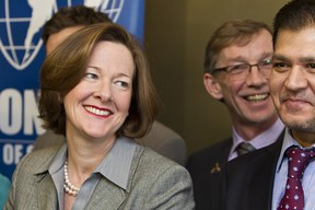 Alberta Premier Alison Redford takes media questions after speaking to the Edmonton Chamber of Commerce at the World Trade Centre Edmonton offices in Edmonton on Wednesday. Ian Kucerak/QMI Agency