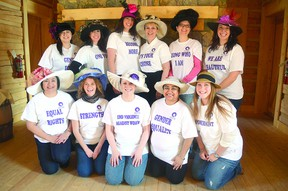 Organizers of the local International Women's Day events get together in their Kentucky Derby-style hats, which are meant to symbolize momentum.  Photo Supplied