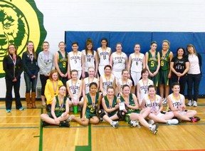 Winners in the 1J Girls Zones tournament - the first place St. Thomas More Kodiaks (in green) and the second place Hines Creek Tigers (in white). Kodiaks' coach Toni Craig is on the far left, Tigers' coach Jennifer Kramer second from the right. The Kodiaks took the win 51-33.