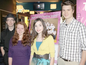Alex Sterling, 17, left, Paige Newman, 16, Sienna Gagner, 14, and Eric Stewardson, 16, play the lead roles in 'Our Minds Matter,' a video project organized by the Chatham-Kent Public Health Unit to raise awareness about mental health. The premiere was held Wednesday  March 6, 2013 at Galaxy Cinemas in Chatham Ont. TREVOR TERFLOTH/ THE CHATHAM DAILY NEWS/ QMI AGENCY