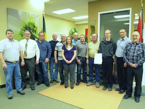 Representatives from nine rural municipalities with the signed Twin Lakes Planning District agreement.