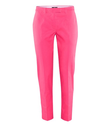 40s – Refine your look!Stay streamlined with conservative-cut trousers in shocking pink.Trousers, $29.95, H&M;.