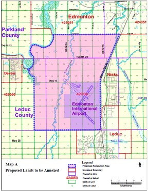 Proposed Annexation of Lands Southwest of Edmonton--The City of Edmonton has begun the annexation process to acquire land south of its boundary that is currently part of Leduc County and the Town of Beaumont. On March 5, 2013, City Council passed a resolution to begin the process for two annexation applications. The City of Edmonton has sent a notice of intent to proceed with the annexation applications to Leduc County, the Town of Beaumont, the Municipal Government Board (Government of Alberta) the Capital Region Board and all affected local authorities. City of Edmonton