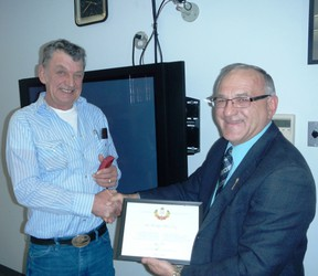 Miron Croy received QE II Diamond Jubilee medal from MLA Hector Goudreau
