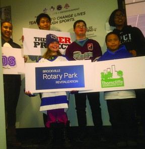 Pictured are the six grant recipients from the MLSE Team-Up Fund contest. Representing Brockville is Rotary Park Revitalization Committee member Tim Ross's granddaughter, Tamara Fox. (SUBMITTED PHOTO)