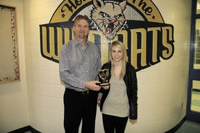 """John Maland High School teacher Ron Zukowski presented Grade 12 student Karly French an award acknowledging French's achievement of a 100 per cent grade on her Math 30-1 provincial exam at the school on Tuesday, Mar. 12. """"It's very difficult to do,"""" said Zakowski of the achievement, which was the only 100 per cent exam a JMHS student scored in any subject in the first semester of this school year. """"She's a very dedicated student."""" French said she's always had a talent for math, and is currently planning on attending the University of Alberta next year and studying in the sciences."""