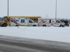 Mayerthorpe RCMP, EMS and firefighters respond to a mid-morning collision at the turning lane between the lanes of Highway 43 by the Highway 18 (Green Court turnoff) at about 11 a.m. on Friday, March 15. Giving a preliminary report at 11:40 a.m., RCMP Cpl. Gabriel Graham said a school bus was carrying 22 cadets and being followed by a pickup truck in left lane of Highway 43. The bus slowed to turn left and the pickup truck couldn't stop or move lanes in time. The truck struck back end of school bus damaging pickup truck front end. Ambulance attended and checked out the two occupants of the pickup truck who were released on the scene with no injuries. There were no injuries to anyone on the bus. The corporal said it appeared the snow on the road was  to blame. The collision is still under investigation.