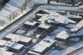 Aerial view of the provincial detention center in Saint-Jérôme, Que. where two inmates escaped by helicopter with the help of accomplices, Sunday, March 17, 2013. (MAXIME LANDRY /QMI AGENCY)