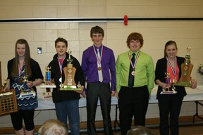 These five students put in the time and effort in takes to do good science: Emily Lorincz of Glenmary School in Peace River(winner of Best in Fair), Aidan Charest - Ecole Georges P. Vanier, Stephane Chenard and Brendan Samek - Glenmary School and Kayleigh Pasula - Fox Creek School.