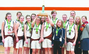 The Fort Saskatchewan Christian School senior girls brought home a gold medal in the Elk Island school district playoffs. This was the school's first ever gold medal for the senior girls.  Photo by Aaron Taylor/Fort Saskatchewan Record/QMI Agency