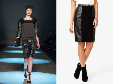 Look: Leather panels    Seen at: Miz by Izzy Camilleri   Get it now:: Paneled faux leather skirt ($23.80, Forever 21).    (George Pimentel/WIREIMAGE/Getty Images)