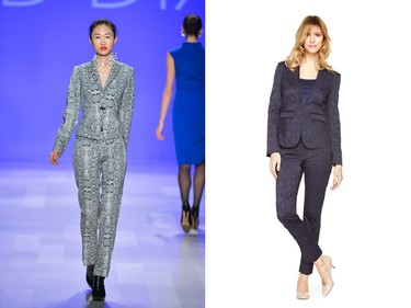 Look:  Decorated suit Seen at: David Dixon Get it now:  Jacquard jacket and ankle pant ($60 and $40, respectively, Reitmans petites). (George Pimentel/WIREIMAGE/Getty Images)