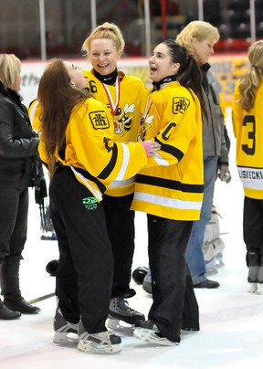 The Iroquois Falls Hornets triumphed 3-2 over Valley East on Sunday in the 2013 Northeast Region Ringette Championship Junior/Belle 'C' Division final at the McIntyre Arena. The game went to double overtime until the Hornets found the game-winner. Chelsie Longstreet, centre, who scored the game-winning goal celebrates with team-mates Britney Bujold, left and Britney Joseph, right, following the game.
