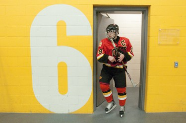 Elgin-Middlesex Chiefs captain Travis Konecny walks out of the team dressing room at the Middlesex Centre Community Wellness and Recreation Centre in Komoka on Sunday February 10, 2013. Despite missing half the game due to an equipment issue, the 15-year-old and his team rallied to win the second bout in a three game series against the Kitchener Jr. Rangers 6-2 CRAIG GLOVER The London Free Press / QMI AGENCY