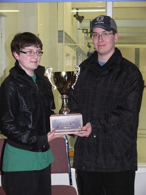 (Left) Alex Brignall and Brett Laing, along with fellow team mate Ross Friesen, won the Jay Dover Memorial at the Melfort Curling Club on Wednesday, March 20.