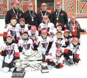 The Centre Hastings Danford Construction Novice Grizzlies captured their fourth consecutive OMHA East championship on Sunday at the Madoc Arena. Members of the 'B-BB' squad include: Joe Brownson, Braeden Cassidy, Ben Danford, Kelln Dostaler, Kieran Finch, Connor Hunt, Heiden Leonard, Nick Oke, Anna-Belle Phillips, Tyler Sawkins, Phoenix Smith and Delaney Stoltz.