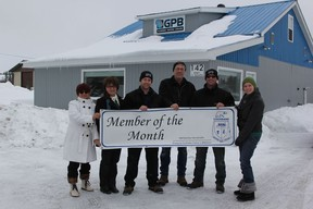 GPB Heating & Plumbing is the Board of Trade's 'Member of the Month' for March. Laura Labelle (far left) and Julia Martin (far right) presented Liliane Bouvier, Simon Bouvier, Claude Begin and Pat Levasseur with their banner for the month on March 8.