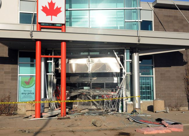 The front entrance of the Grande Prairie Future Shop sustained significant damage early Monday morning after a vehicle was used to gain entry. No store employees were injured and the incident is under investigation. AARON HINKS/DAILY HERALD-TRIBUNE