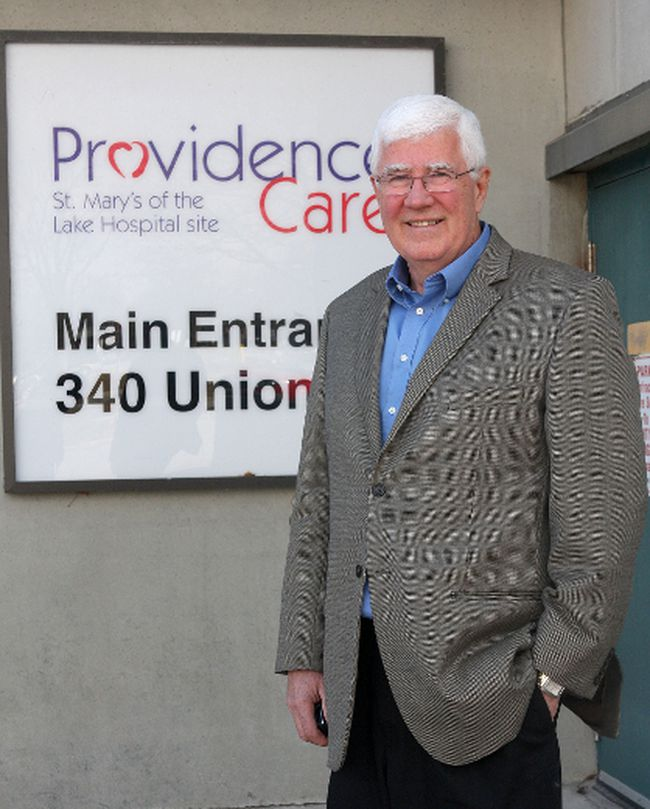 Glen Wood, chair of the Providence Care Board of Directors at the St. Mary's of the Lake Hospital site. (Ian MacAlpine The Whig-Standard)