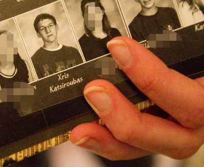 A former classmate of Xris Katsiroubas shows a photo of him in Grade 10 in her South Secondary School 2006 yearbook, April 1, 2013.  (CRAIG GLOVER/QMI AGENCY)