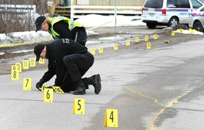 North Bay Police Service at the scene of a hit and run crash that killed a pedestrian on Wyld Street on March 27, 2013. (NUGGET FILE PHOTO)