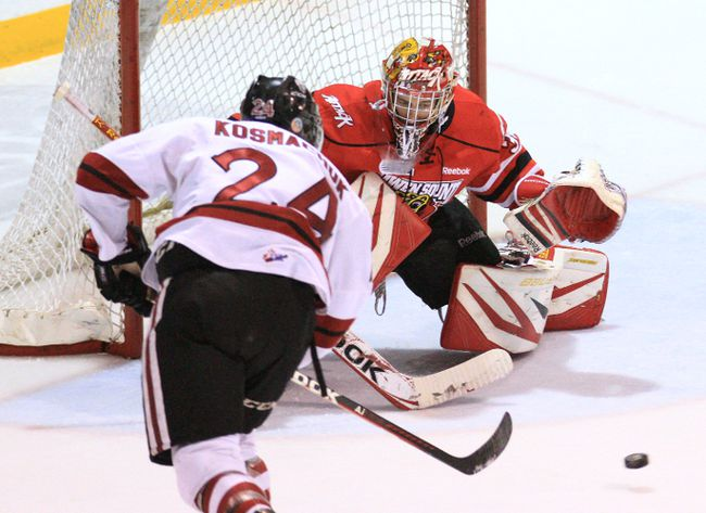 Owen Sound goalie Jordan Binnington faces down Guelph Storm winger Scott Kosmachuk during a game played in January in Owen Sound.