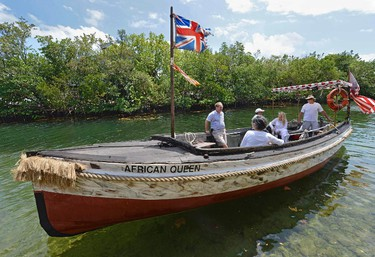 The African Queen, the original vessel from the classic 1951 film of the same name, sails on a Key Largo canal. ANDY NEWMAN/FLORIDA KEYS NEWS BUREAU