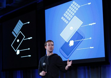 Mark Zuckerberg, Facebook's co-founder and chief executive speaks during a Facebook press event in Menlo Park, Calif., April 4, 2013.  REUTERS/Robert Galbraith