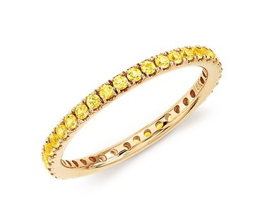 Yellow sapphire eternity ring from Blue nile. (Supplied)