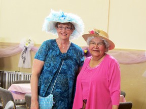 Margaret Sawatsky and Agnes Morton all dressed up for the Victoria High Tea held at the St. Mary's Parish Hall, Saturday afternoon, in celebration of the Anglican Church's 160th anniversary. Participants were not only entertained by a number of musicians but also had a silent auction, bake tables, and door prizes. (ROBIN DUDGEON/THE GRAPHIC/QMI AGENCY)