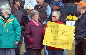 About 40 protesters brought their concerns about genetically modified alfalfa to the office of Perth-Wellington MP Gary Schellenberger in Stratford Tuesday. (SCOTT WISHART, The Beacon Herald)