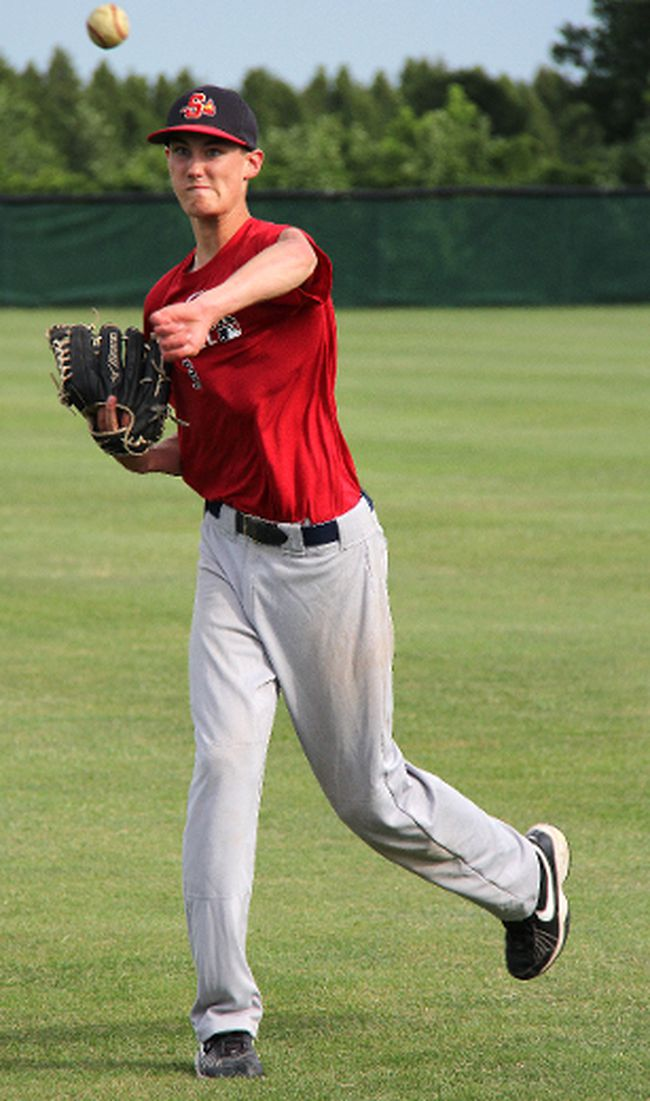 Sarnia Braves midget AAA pitcher Mitchell Bigras, then 15, warms up this past June. Bigras has been invited to the Canadian junior baseball team's spring camp in Florida. PAUL OWEN/THE OBSERVER/QMI AGENCY