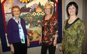 It's all about Art in the Family at Centre culturel La Ronde's Galeruche art gallery for the month of April. Sisters, from left, Joan Pye and Elaine Nyman, and Elaine's daughter Lynne Nyman, right, are currently exhibiting some of their best paintings and quilts at the gallery until April 30.