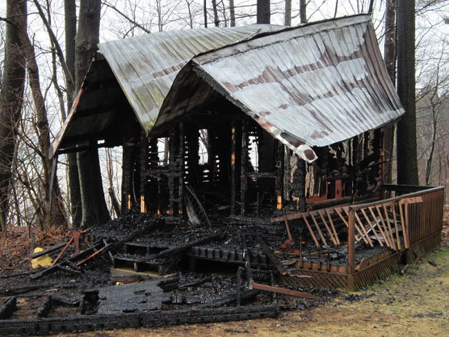 A lightning strike Tuesday destroyed this guest house on the property of retired NHL star Rob Blake west of Port Dover. (MONTE SONNENBERG Simcoe Reformer)