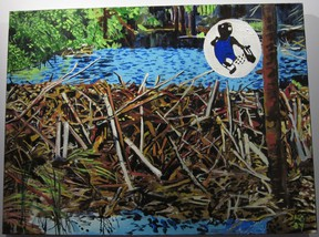 """Dave Gordon's acrylic on canvas, Beaver Lumber, is on display at the Pump House Steam Museum's reprise of the """"I Am Water"""" exhibition that debuted at the Window Art Gallery. (Photo courtesy of Kamille Parkinson)"""