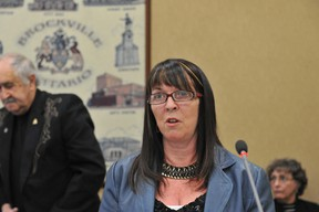Former city councillor Louise Severson speaks to council's finance, administration and operations committee meeting on Wednesday. RONALD ZAJAC The Recorder and Times