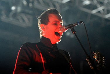Musician Jon Por Birgisson of the band Sigur Ros performs onstage during day 2 of the 2013 Coachella Valley Music & Arts Festival at The Empire Polo Club on April 13, 2013 in Indio, California. (Frazer Harrison/Getty Images for Coachella/AFP)