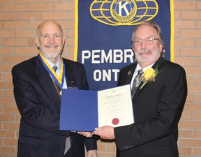 The Kiwanis Club of Pembroke held its 91st charter night on April 13, 2013, presenting awards to deserving members. Receiving the Mel Osborne Fellowship Award, presented to Kiwanians who have contributed to the growth and work of Kiwanis, was Bob McLaughlin. Here, Bob, left, accepts the award from Dr. John Button, Kiwanis International vice president. For more community photos, please visit our website photo gallery at www.thedailyobserver.ca.