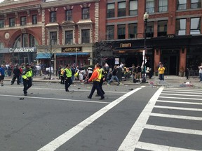 Photo posted on twitter by @JackieBrunoNECN of the explosion at the Boston Marathon on april 15 2013. Twitter Photo by @JackieBrunoNECN