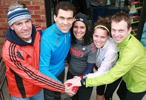 Some of the Owen Sound Boston Marathon participants included, from left,  Doug Barber, Scott Greig, Lisa Lawson, Hannah Fraser and Rob Vanderwerf. Tracey Richardson, The Sun Times