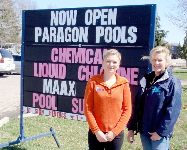 Paragon Pools is a long-time  business with a relatively new name and a brand new location.  Sarah Wagenaar and her mother, Corine, have relocated their pool and spa business from Given Road to St. Clair Street in Chatham. BOB BOUGHNER/ THE CHATHAM DAILY NEWS/ QMI AGENCY