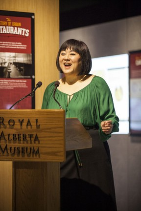 Linda Tzang speaks during the launch of the exhibit Chop Suey at the Royal Alberta Museum on April 18, 2013. Photo supplied.
