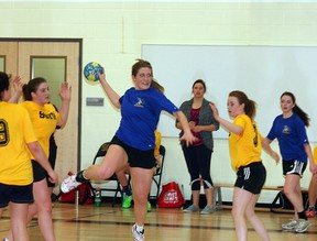 The Bev Facey Falcons senior girls handball team is off to provincials this weekend after defeating the Archbishop Jordan Scots in the Metro League final. Photo by Shane Jones/Sherwood Park News/QMI Agency
