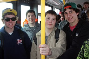 Timmins students and daily bus riders, from left, Greg Toal, Tyler Menezes, Josh Schmidt and Jake Fortin, were among the thousands of residents enjoying a free bus ride on Monday courtesy of Timmins Transit's celebration of Earth Day. Like many of the city's buses on Earth Day, Route 16 to Porcupine/South Porcupine was standing-room only.