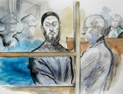 Via Rail terror accused Raed Jaser (L) and lawyer John Norris are pictured in a courtroom sketch at Old City Hall Court in Toronto April 23, 2013. (Pam Davies)