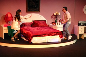 Misty Oakes and Ben McCully, two of seven main plays, star in Keyano Theatre Company's production of Bedtime Stories by Norm Foster. AMANDA RICHARDSON/TODAY STAFF
