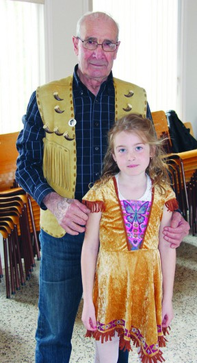 On Saturday, a dozen or so people attended a meeting of the Anishaanabe Cultural Circle, which was held at Mount Zion United Church. While there, they heard a teaching from Algonquin Elder Skip Ross. Here, he stands with Carli Duchene, who attended the circle.