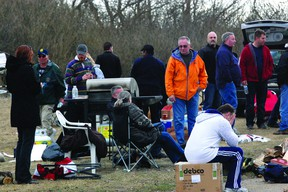 Despite being ordered back to work by the Alberta Labour Relations Board, after their strike was deemed illegal, Fort Saskatchewan correctional officers remain on strike, and are setting up camp for the night.  Photo by Ben Proulx/Fort Saskatchewan Record/QMI Agency