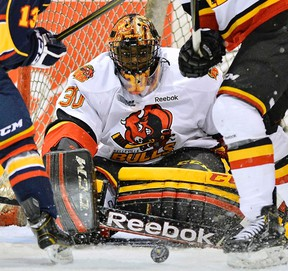 Belleville goalie Malcolm Subban was simply superb, backstopping the Bulls to a 3-1 win in Barrie Saturday night to force a seventh and deciding game in their series Monday at Yardmen Arena. (OHL Images)